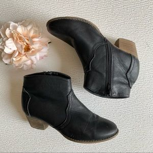 Cotton On Black Leather Ankle Booties Size 8.5
